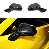 MCARCAR KIT Real Carbon Fiber Mirror Cover fits for Chevrolet Camaro LT SS RS ZL1 Coupe & Convertible 2-Door 2016-2019 Add-on CF Side Rearview Mirror Caps Car Exterior Outside Shell