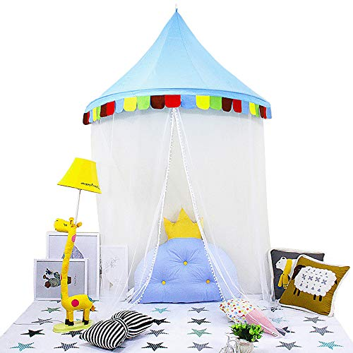 LifeEase Baby Bed Canopy, Princess Hanging Play Tent, Round Hoop Crib Netting for Bedroom Decoration, Study Indoor Reading Corner, Children Play Tent Castle (Dark Blue)