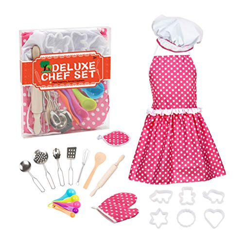 BSTCAR Kids Chef Set, Cooking and Baking Set Kids Dress Up Chef Costume Role Play Toys Mitt & Utensil for Toddler Dress Up Chef Costume Career Role Play for Girls Ages 3+