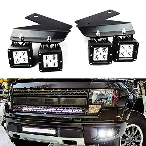 iJDMTOY LED Pod Light Fog Lamp Kit Compatible With 2010-14 Ford SVT Raptor, Includes (4) 20W High Power White CREE LED Cubes, Foglight Location Mounting Brackets & On/Off Switch Wiring Kit