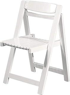 Asiento de trabajo Estructura de madera maciza Apartamento pequeño de cocina silla de madera plegable silla de comedor for el hogar Respaldo Popular for la sala de estar restaurante ( Color : White )