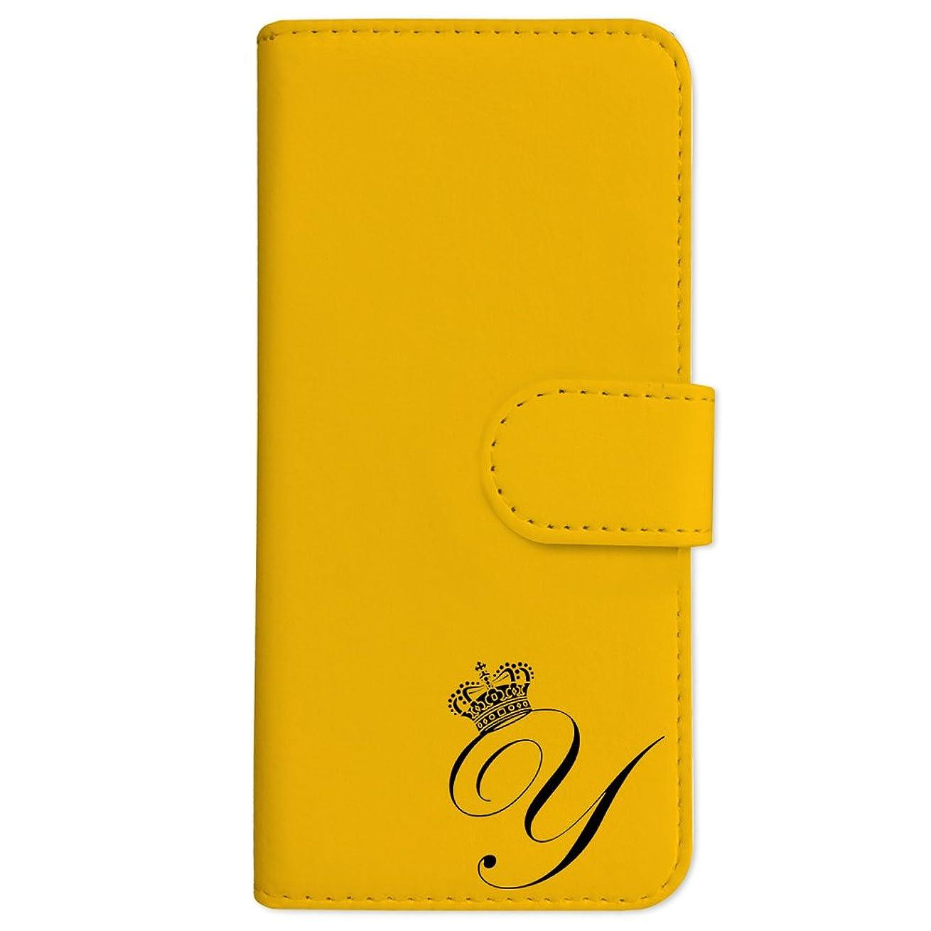計画的勝利製造sslink iPodTouch5 アイポッドタッチ5 手帳型 スマホ ケース クラウン イニシャル 「Y」 黒文字 (イエロー) アルファベット ロゴ エンブレム ダイアリータイプ 横開き カード収納 フリップ カバー スマートフォン