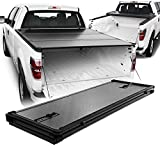 Fits 2004-2014 Ford F150 Crew Cab 66 Inches 5.5 Feet Bed Model [Hard Tri-Fold Style] Black Tonneau Cover