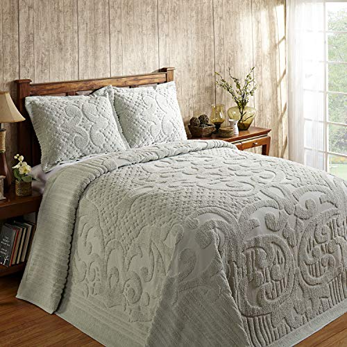 Better Trends Ashton Collection Is Super Soft And Light Weight In Medallion Design 100 Pecent Cotton Tufted Unique Luxurious Machine Washable Tumble Dry, King Bedspread, Sage,BSASKISA
