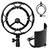 Moukey Microphone Shock Mount with Three-Layer Metal Pop Filter, Anti-Vibration Suspension Mic Shockmount for Blue Yeti, AT2020, AT2050, Fits 49-54mm/66-70mm Diameter Mics Except Yeti Pro X