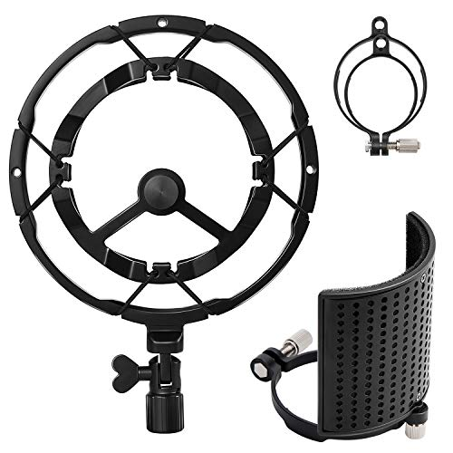 Moukey Microphone Shock Mount with Three-Layer Metal Pop Filter, Anti-Vibration Suspension Mic Shockmount for Blue Yeti, AT2020, AT2050, Fits 49-54mm/66-70mm Diameter Mics