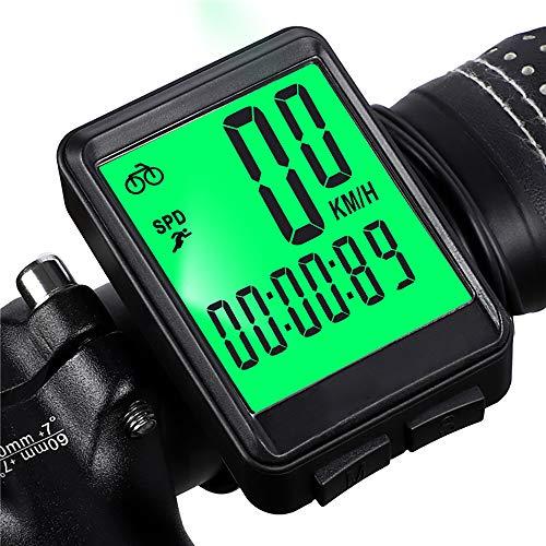 LICHUXIN sans Fil vélo Compteur de Vitesse, 2.1in LCD Cadence Ordinateur de vélo Disques équitation Vitesse et la Distance, utilisé pour la Formation Cycliste, Route Racing Speed Tracking,Vert