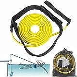 Cinturón de Entrenamiento, Equipo de natación Cuerda Elástica Conjunto de Cinturón de Natación Equipo de Fuerza de Resistencia de Natación para Adultos y Niños (3M Amarillo)