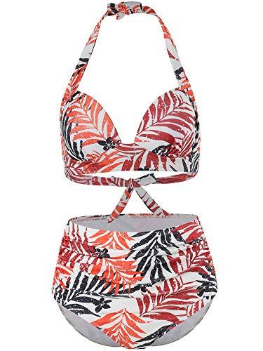 FLYILY 2 pièces Bikini Maillot de Bain pour Femme Vêtement Été Femme Taille Haute Maillot de Bain rembourré Dos Nu(Leaf,L)