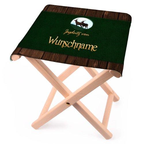 Lustapotheke® Klapphocker für Jäger - Jagdsitz von… - mit Wunschname aus Holz