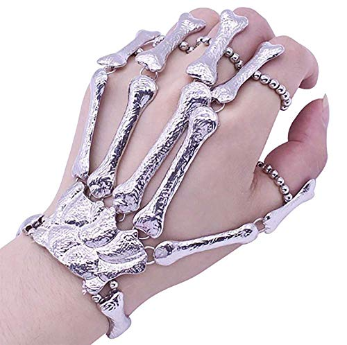 Cathercing Halloween Wristband Skull Fingers Metal Skeleton Hand Bracelet with Ring for Women and Men on Party(silver)