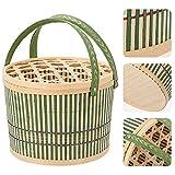 Cestas para Picnic 1 UNID Cesta de picnic Almacenamiento Handing Manija Diseño Cesta de alimentos Canasta tejida portátil Cesta de huevo con tapa para picnics, fiestas y barbacoas Cestas de la compra
