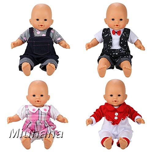 Miunana 4 Ropas Vestidos Fashion para 36 - 40 cm 14- 16 Pulgadas Muñeca Bebé (Muñeca no incluida)