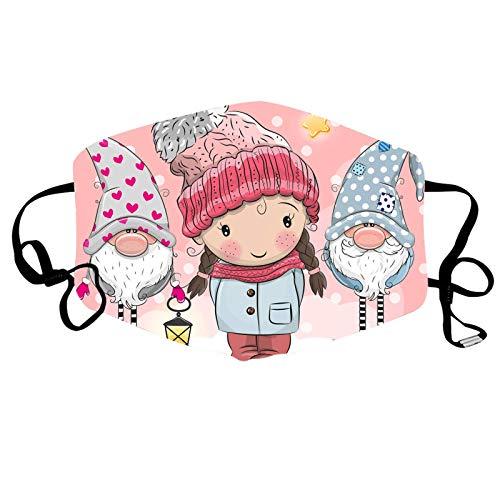 N / A Einstellbare Wind, Staub und nebelsichere Masken mit Weihnachtsdrucken, die Chips aufnehmen können und für Männer und Frauen gewaschen Werden können