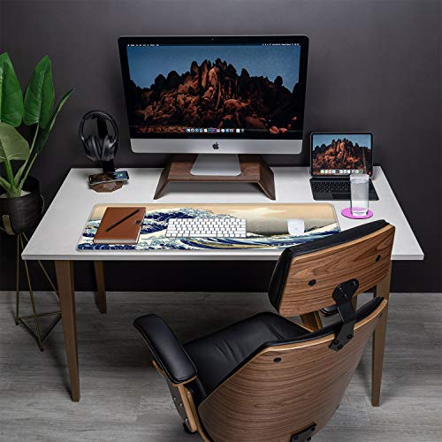 Desk Pad-Large Gaming Mouse Pad with Stitched Edges, Extended Computer Mouse Pad Water-Resistant Writing Pads with Non-Slip Rubber Base 31.5 x 11.8 in,with Coasters(Japanese Kanagawa Great Heavy Wave) Photo #4