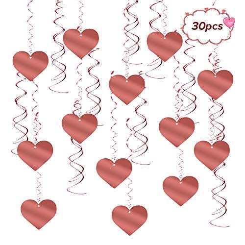 Matogle 30 PCS Decorazione Spirale Cuore Appeso Decorazioni Pendenti da Soffitto Ghirlande AppeseFinestra Porta per Festa Compleanno Matrimonio Nozze Decorazione Oro Rosa per Festa Compleanno