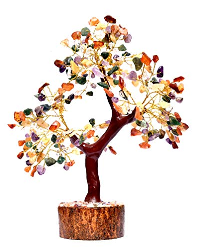Vastu Crystals Healing Stones Multi Seven Chakra Natural Healing Gemstone Bonsai Fortune Money Tree for Good Luck & Prosperity-Home Office Decor Spiritual Gift Golden Wire and 300 Beads Size 10-12 Inches