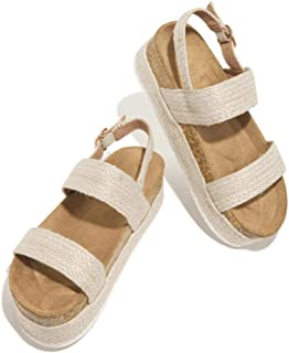 Padaleks Women's Platform Wedges Sandals Buckle Ankle Strap Open Toe Casual Summer Cork Espadrilles Flatform Shoes