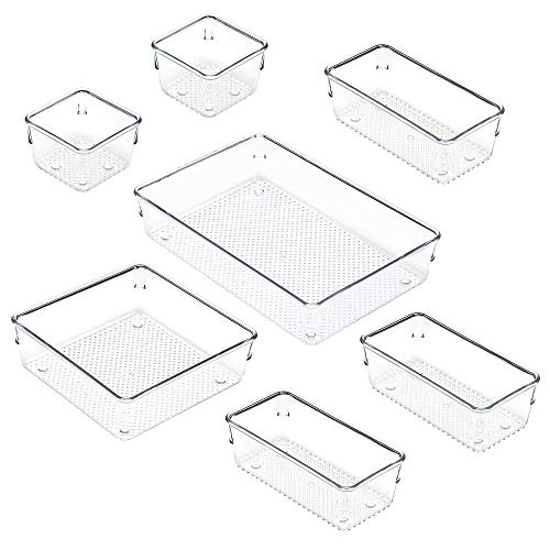 IHOMECOOKER 7 Piece Set 4-size Clear Drawer Organizer Tray Desk Drawer Storage Box For Office Makeup