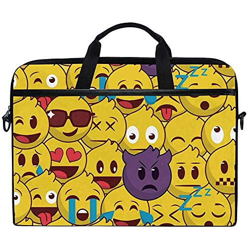 Laptop Sleeve Case,Cute Funny Emoji Pattern Briefcase Messenger Notebook Computer Bag With Shoulder Strap Handle,14-14.5 Inch