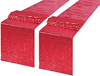 CIPAZEE Sequin Red Table Runner - 2 Pack 12x80 Inch Glitter Red Sequin Table Runners for Party Wedding Christmas Banquet K...