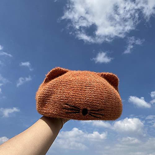 TIEDAN Boina de Punto Femenina otoño e Invierno Lindo Todo fósforo Estudiante Gato Oreja Hilo M (56-58cm)-Naranja_M (56-58 cm)