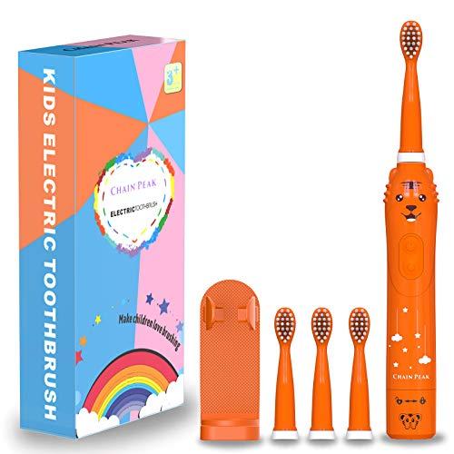 Spazzolino elettrico sonico per bambini, spazzolino ricaricabile per bambini, spazzolino sonico per ragazze dai 3 ai 12 anni con promemoria 30s, timer 2 minuti, 6 modalità, 4 testine con supporto