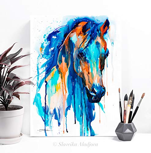 Watercolor Painting Print of a Blue Horse 12x16 inches, artist Slaveika Aladjova