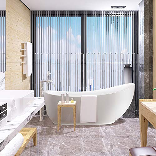 Vanity Art 71 Inch Freestanding Acrylic Bathtub Modern Stand Alone Soaking Tub with Polished Chrome UPC Certified Round Overflow and Pop-up Drain VA6512-L