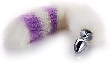 tyufgt6u Fox Tail met Plug Kunstmatige Game Prop voor Vrouwen-Wit en Paars-S