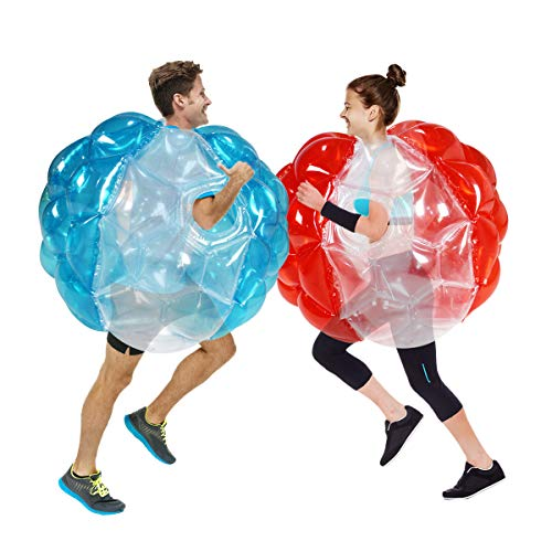 SUNSHINEMALL 2 PC Bumper Balls, Inflatable Body Bubble Ball Sumo Bumper Bopper Toys, Heavy Duty Durable PVC Vinyl Kids Adults Physical Outdoor Active Play (36inch, New 4 red+4 Blue+2pure)