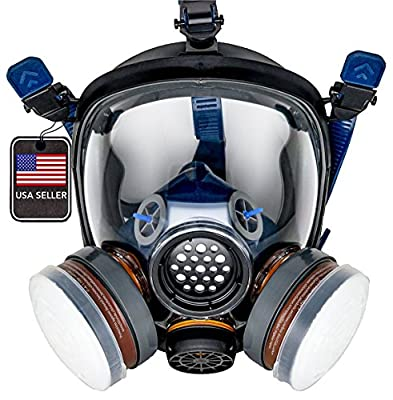 PD-100 Full Face Gas Mask & Organic Vapor Respirator - P-A-1 Dual Activated Filter Set - Eye Protection by Parcil Distribution