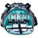 Vogvigo 15L Picknicktasche mit großem Fassungsvermögen und Geschirr Set Outdoor Tragbare Wärmedämmung und Kühlraum 21-teiliges ESS-Set Camping-Picknick-Umhängetasche für Vier Personen