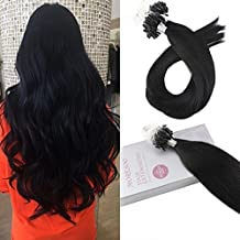 Moresoo 20 Inch Micro Bead Human Hair Extensions Black Color #1 Jet Black Premium Hair Extensions Human Hair 50 Grams Per Package 50 Strands Remy Human Hair Extensions