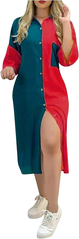 IFOTIME Summer Women Fashion Half Sleeve Colorful Print Dresses Patchwork Button Colorblock T Shirt Casual Midi Dress Pocket