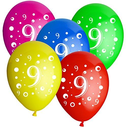ballon boutique Villingen 10 Latexballons Geburtstag Zahl 9 bunt gemischt 30cm Durchmesser