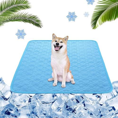 Tappetino Rinfrescante per Cani,70*55 cm Materiale in Tessuto Pieghevole Tappetino Rinfrescante,Tappetino Refrigerante Animali Domestici,Animali Domestici Tappetino Rinfrescante (L, Blu)