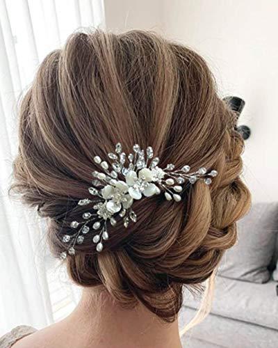 Unicra Braut Hochzeit Haarkamm Blume Kopfschmuck Kristall Braut Haarschmuck für Frauen und Mädchen
