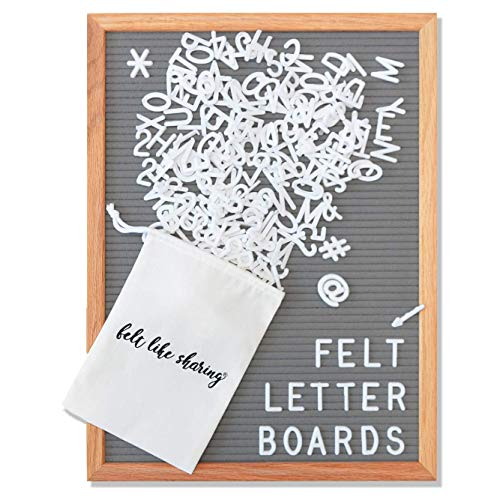 Gray Felt Letter Board 12x16 Inches, Changeable Letter Board Plus 348 White Plastic Letters, Warm Oak Frame Wooden Letter Board w/ Sawtooth Wall Hanger + Drawstring Pouch For Letterboard Letters
