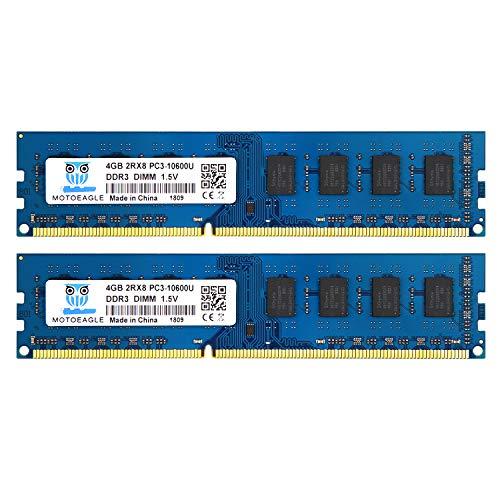 DDR3 1333MHz 8GB Kit (2x4GB) PC3 10600 10600U Unbuffered Non-ECC 1.5V CL9 2Rx8 Dual Rank 240 Pin UDIMM Memoria de Escritorio