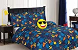 Unbranded Emoji, Cool Dude, 4-Piece Comforter Set Full, Featuring Soft Brushed Fabric for Added Softness, Novelty Pattern, All Season, Boys Beds, Navy