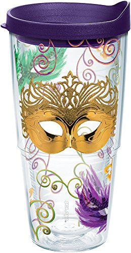 Tervis 1211351 Mardi Gras Masks & Swirls Tumbler with Wrap and Royal Purple Lid 24oz, Clear