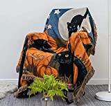 Halloween Sofa Blanket Throw Blanket 100% Cotton for Chair Sofa Couch Bed Cover Fit Home Cozy Knit Blankets for Autumn