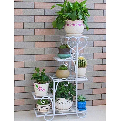 Porte-fleurs à plusieurs étages en fer à repasser Vert Radis Plateau à fleurs en forme de balcon laqué Multi-Viandes Salon Pots de sol intérieurs (Couleur : Blanc)