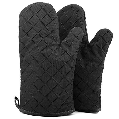 ATUIO - Ofenhandschuhe, Küchenhandschuhe, Hitzebeständige Verdickte Handschuhe, Handschuhe Backen [1 Paar], Ofenhandschuhe Baumwolle für Küche Kochen Backen Grillen, [Schwarz]