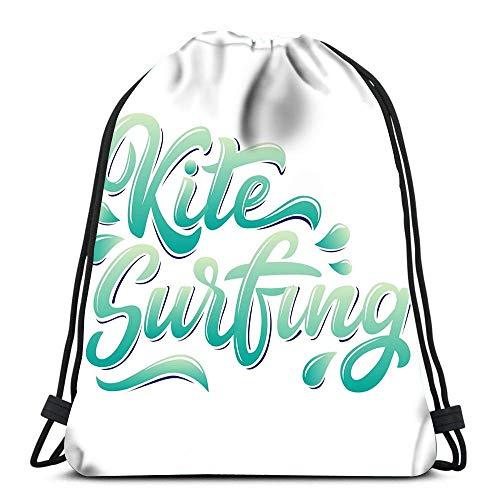 EU Kordelzug Taschen Rucksack Kite Surfing Logo Graffiti Style Reiserucksäcke Tote School Rucksack 3D
