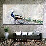 KWzEQ Pintura Decorativa Moderna Arte de Pared Abstracto pájaro Colorido Pavo Real Pintura al óleo Lienzo impresión Cartel Sala de Estar,Pintura sin Marco,30X60cm