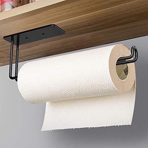 Self Adhesive Paper Towel Holder Under Kitchen Cabinet, Vanwood Paper Towel Rack Stick on Wall, Matte Black Paper Holder Mounted Vertical or Horizontal in Screws or Adhesive, SUS304 Stainless Steel