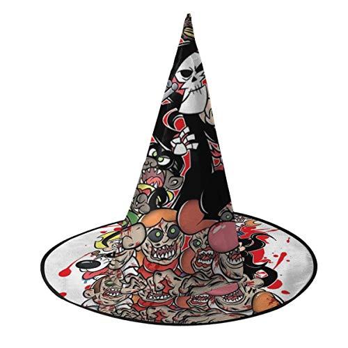 NUJIFGYTCRD Sombrero de Bruja con diseo de la Muerte de la Muerte de Bill y Mandy Billy y el Libro de los Muertos, Disfraz Unisex para Halloween, Navidad, Carnaval, Fiesta