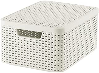 CURVER | Rangement Style Aspect rotin M + couvercle, Ivoire, Storage Others, 39,7x29x18,7 cm